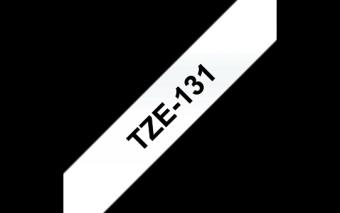 Ruban étiquette TZE131 12mm Noir sur transparent 8 mètres