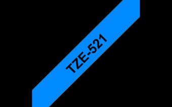 Ruban étiquette TZE521 9mm Noir sur fond bleu 8 mètres