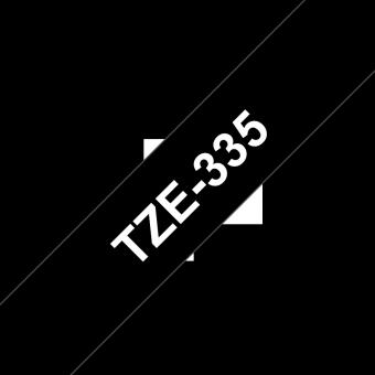Ruban étiquette TZE335 12mm Blanc sur fond Noir 8 mètres